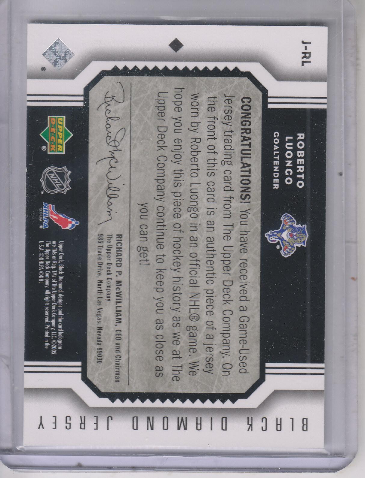 2005-06 Black Diamond Jerseys #JRL Roberto Luongo back image