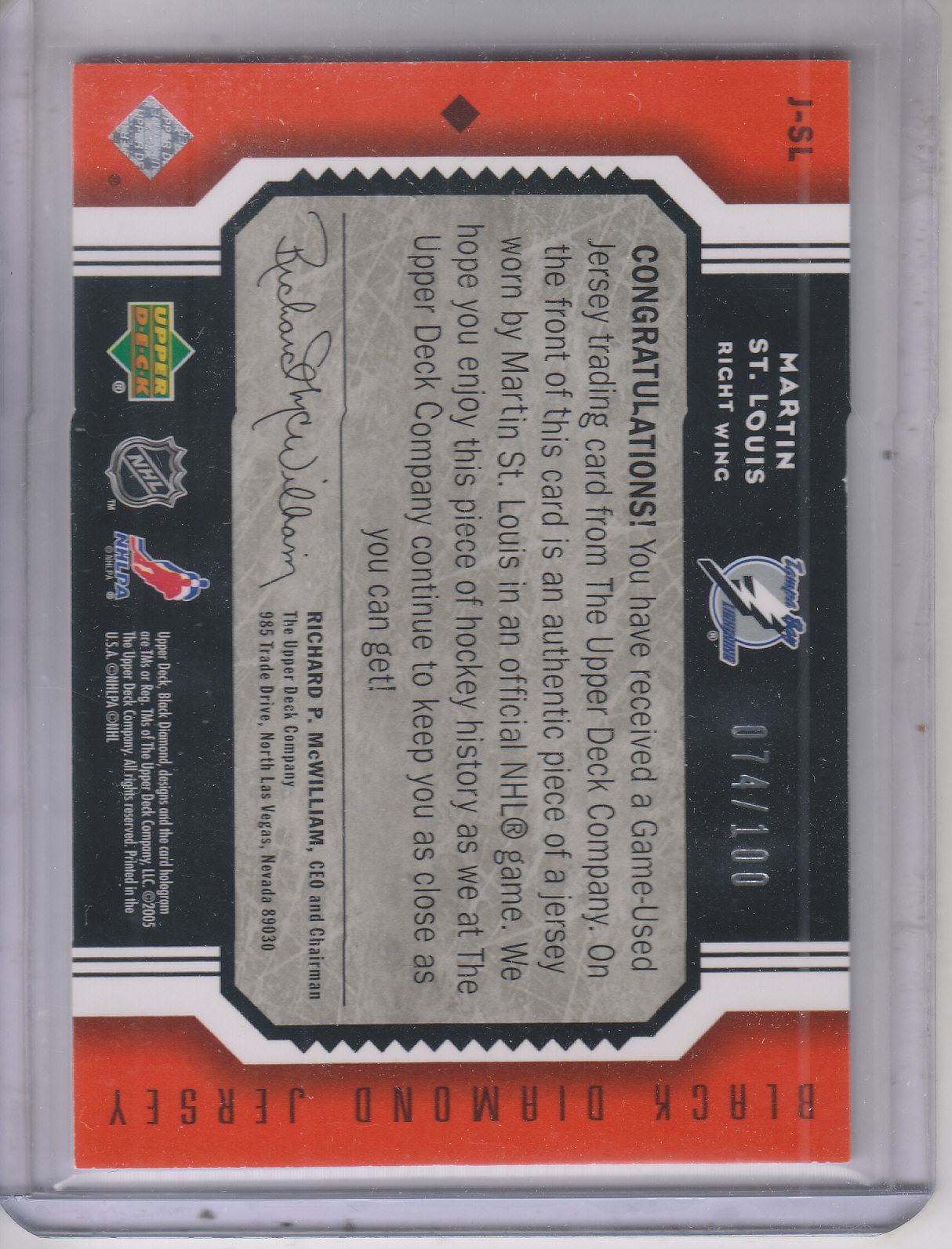 2005-06 Black Diamond Jerseys Ruby #JSL Martin St. Louis back image