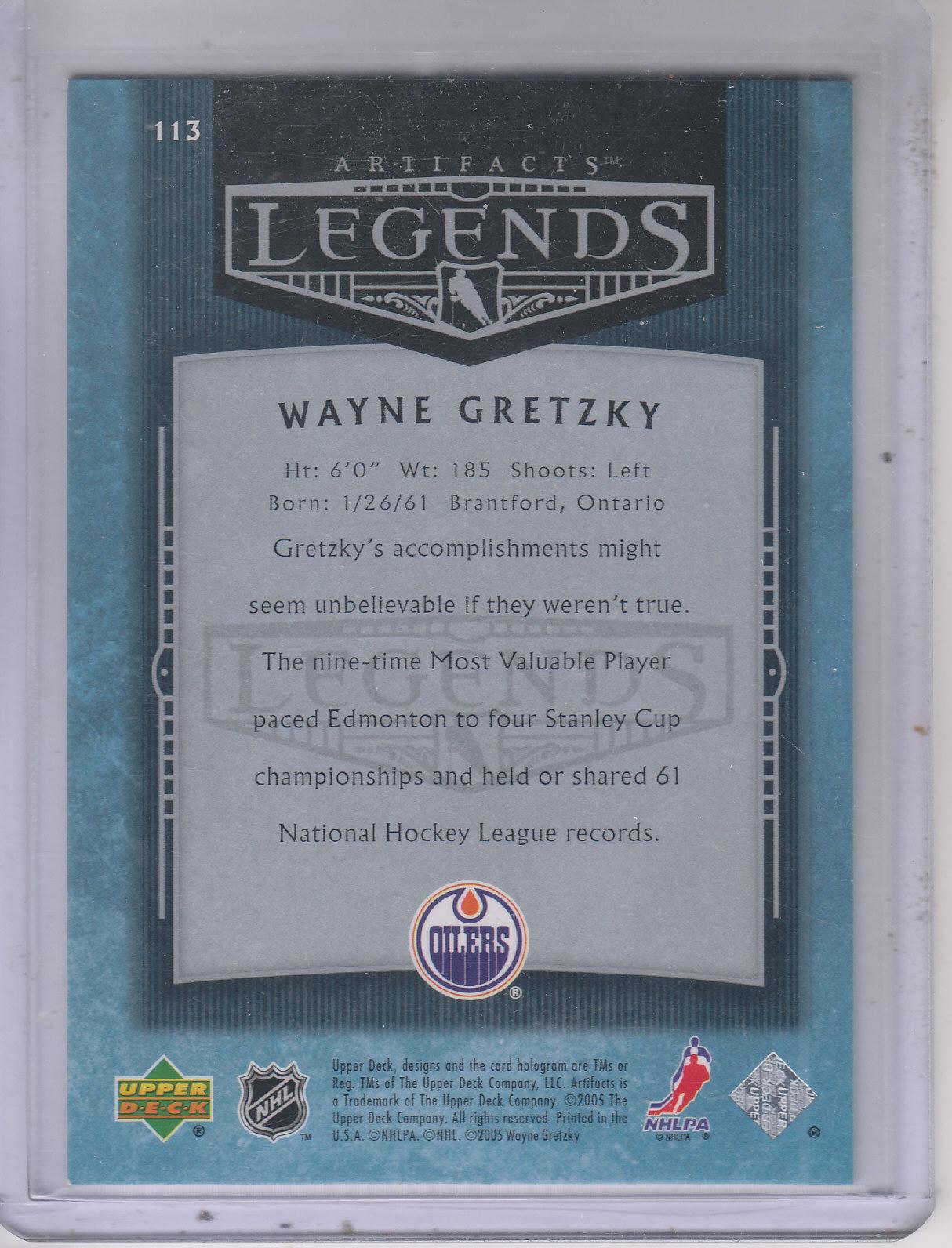 2005-06 Artifacts #113 Wayne Gretzky AL back image