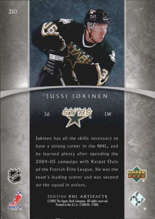 2005-06 Artifacts #210 Jussi Jokinen RC back image
