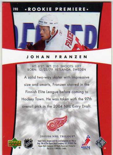 2005-06 Upper Deck Trilogy #190 Johan Franzen RC back image