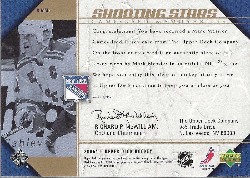 2005-06 Upper Deck Shooting Stars Jerseys #SMME Mark Messier back image