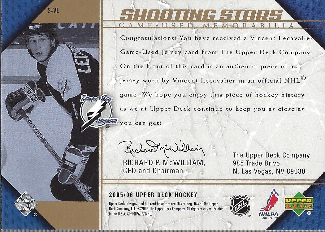 2005-06 Upper Deck Shooting Stars Jerseys #SVL Vincent Lecavalier back image