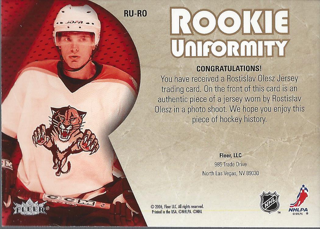 2005-06 Ultra Rookie Uniformity Jerseys #RURO Rostislav Olesz back image