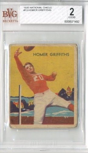 1935 National Chicle #13A Homer Griffiths SN RC