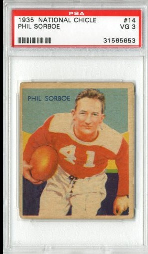 1935 National Chicle #14A Phil Sarboe SN RC UER/(name misspelled Sorboe)