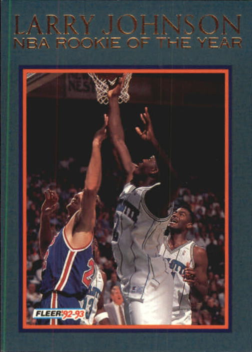 Details About 1992 93 Fleer Rookie Of The Year 9 Larry Johnson Hornets C20687