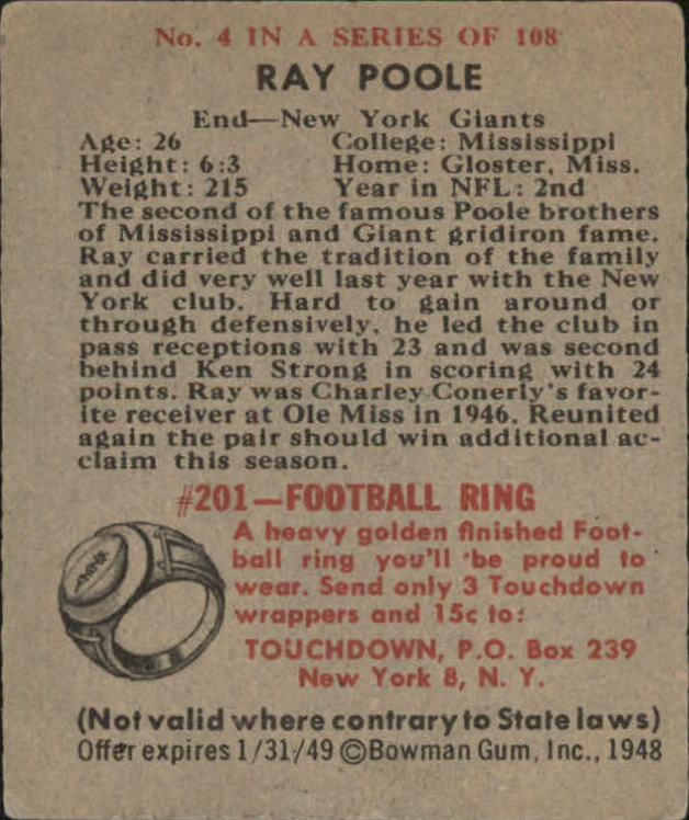 1948 Bowman #4 Ray Poole RC back image