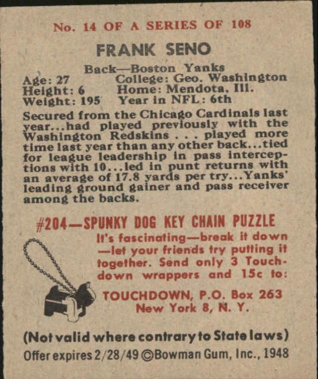 1948 Bowman #14 Frank Seno RC back image