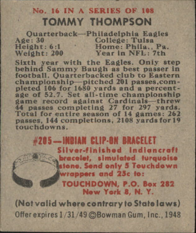 1948 Bowman #16 Tommy Thompson RC back image