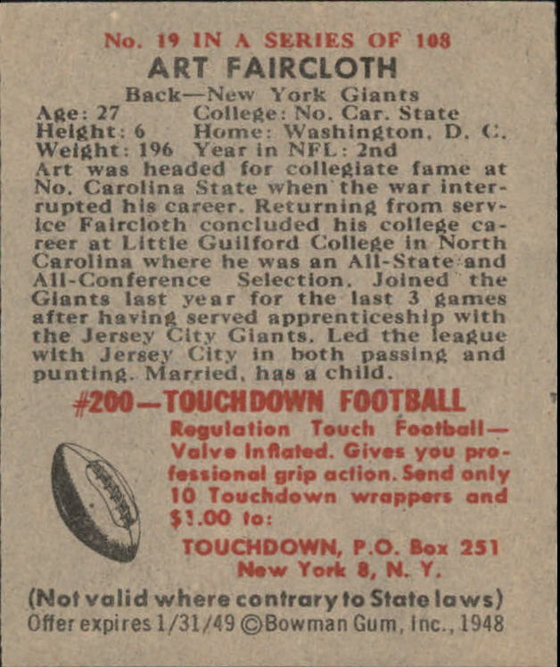 1948 Bowman #19 Art Faircloth RC back image