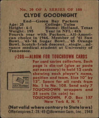 1948 Bowman #20 Clyde Goodnight RC back image