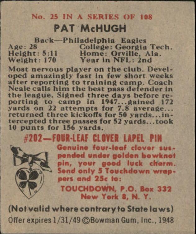 1948 Bowman #25 Pat McHugh RC back image