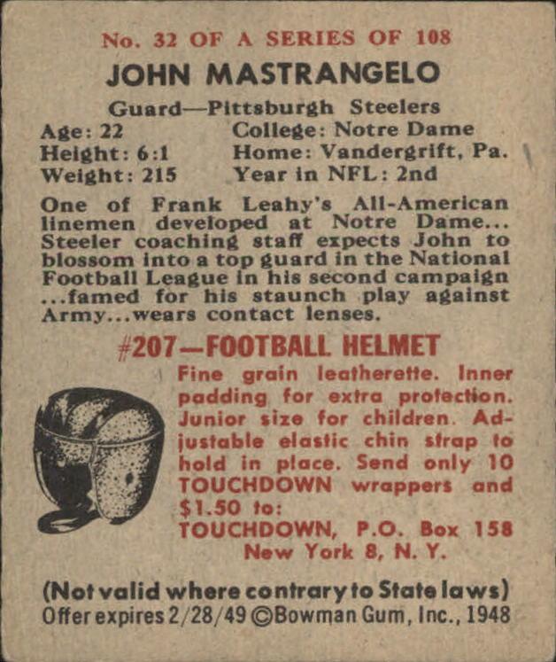 1948 Bowman #32 John Mastrangelo RC back image