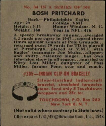1948 Bowman #34 Bosh Pritchard RC back image