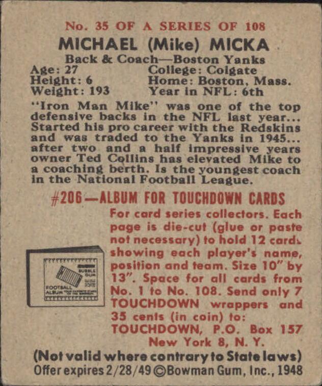 1948 Bowman #35 Mike Micka RC back image