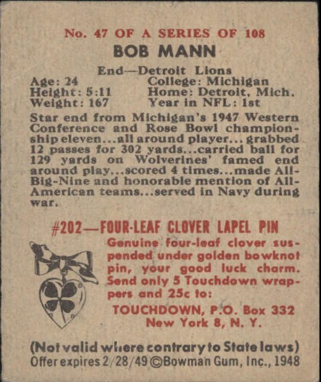 1948 Bowman #47 Bob Mann RC back image