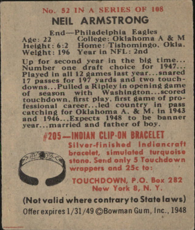1948 Bowman #52 Neill Armstrong RC UER/Name spelled Neil on back back image