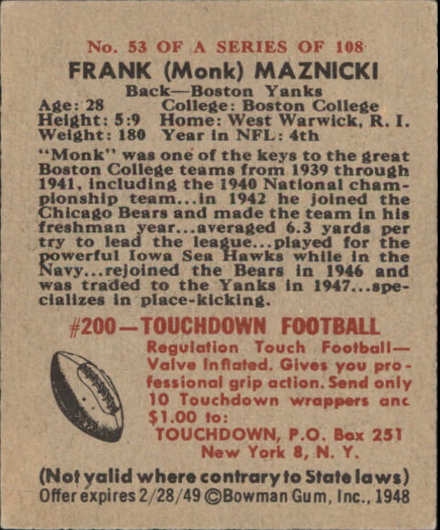 1948 Bowman #53 Frank Maznicki RC back image