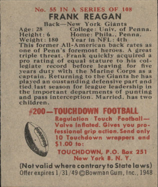 1948 Bowman #55 Frank Reagan RC back image