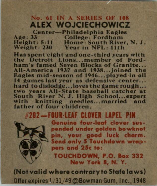 1948 Bowman #61 Alex Wojciechowicz RC back image