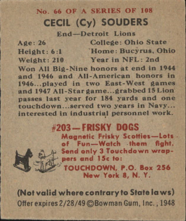 1948 Bowman #66 Cy Souders SP RC back image