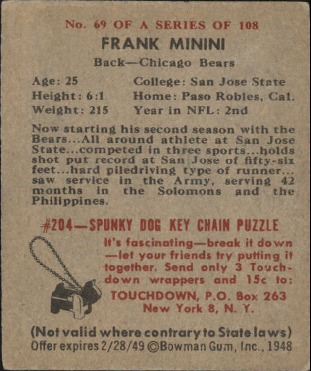 1948 Bowman #69 Frank Minini SP RC back image