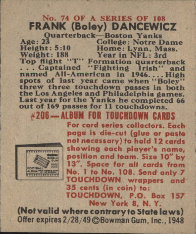 1948 Bowman #74 Boley Dancewicz RC back image