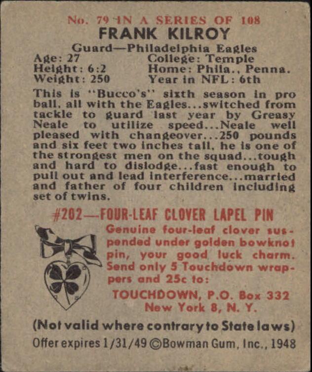 1948 Bowman #79 Bucko Kilroy RC back image