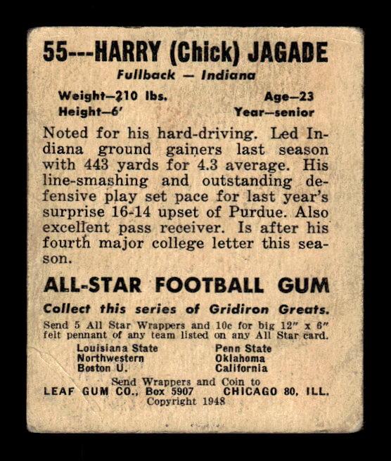 1948 Leaf #55 Chick Jagade RC back image