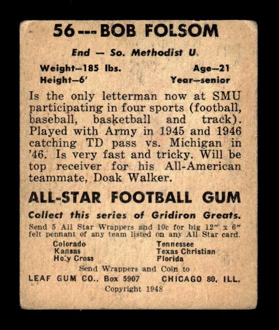1948 Leaf #56A Bob Folsom BB RC/(Blue background) back image