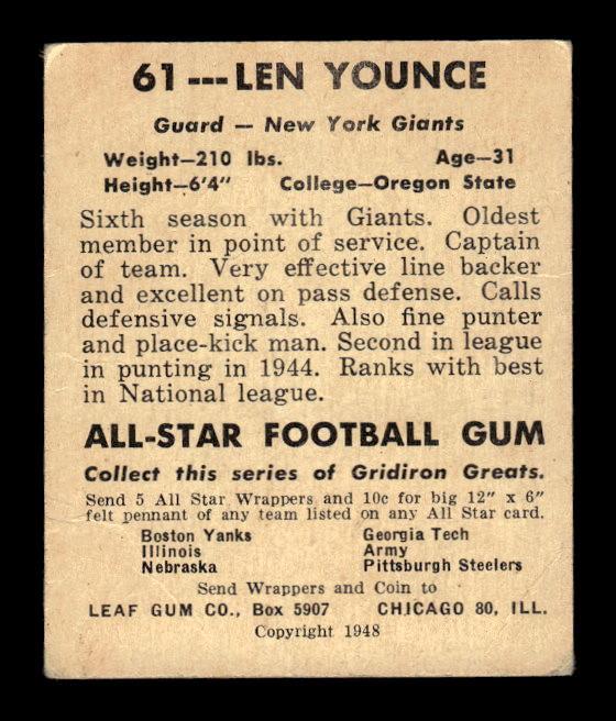 1948 Leaf #61 Len Younce RC back image