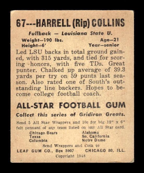 1948 Leaf #67 Harrell Collins RC back image