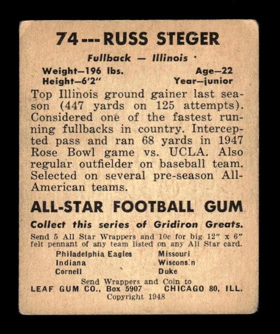 1948 Leaf #74 Russ Steger RC back image