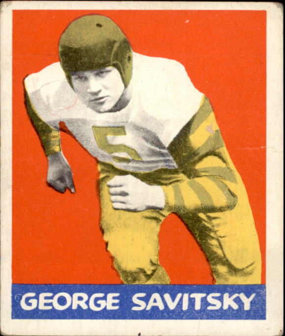 1948 Leaf #77A George Savitsky GS BYP RC/(Green stripes on sleeve,/bright yellow pants)
