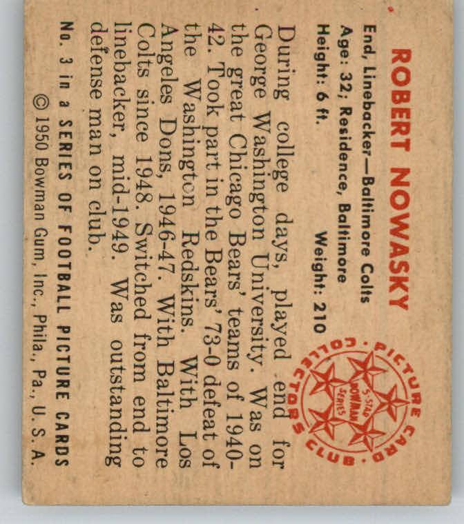 1950 Bowman #3 Bob Nowasky RC back image