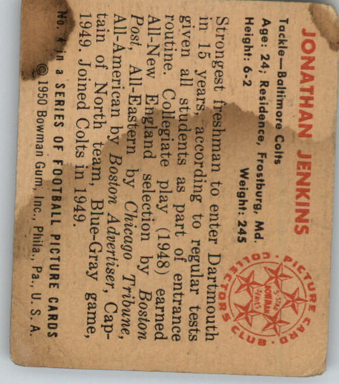 1950 Bowman #4 Jonathan Jenkins RC back image