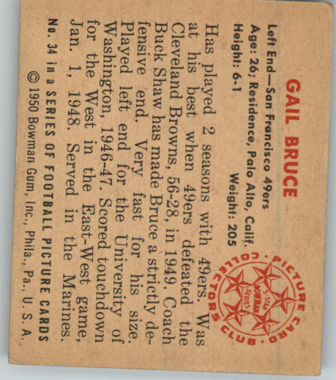 1950 Bowman #34 Gail Bruce RC back image