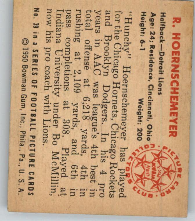 1950 Bowman #39 B.Hoernschemeyer RC back image