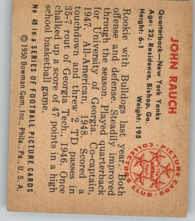 1950 Bowman #48 John Rauch back image