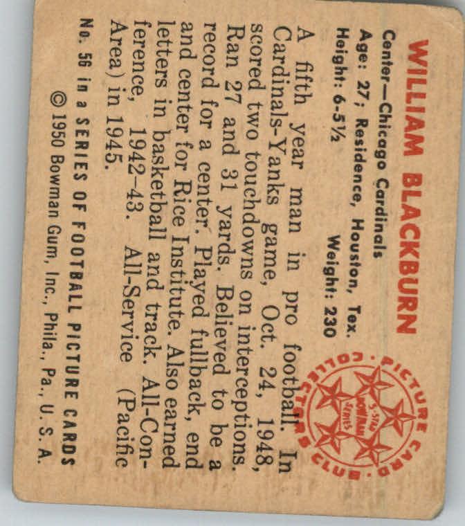 1950 Bowman #56 Bill Blackburn RC back image