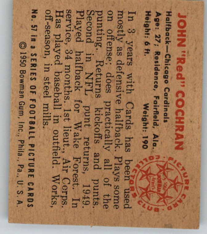 1950 Bowman #57 John Cochran RC back image