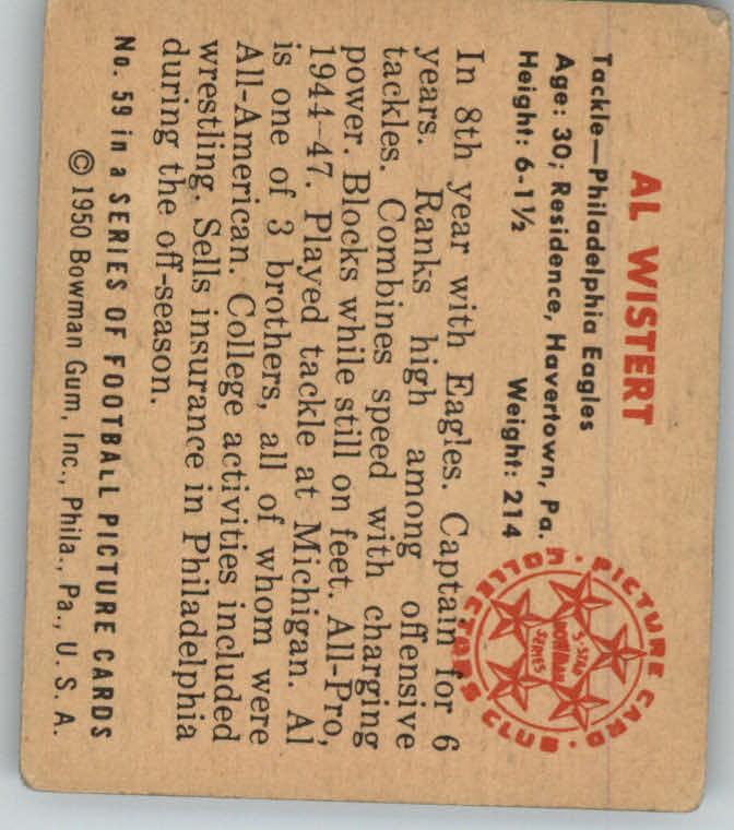 1950 Bowman #59 Whitey Wistert back image