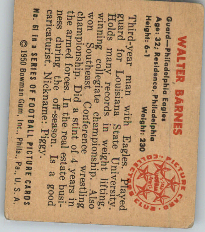 1950 Bowman #61 Walter Barnes RC back image