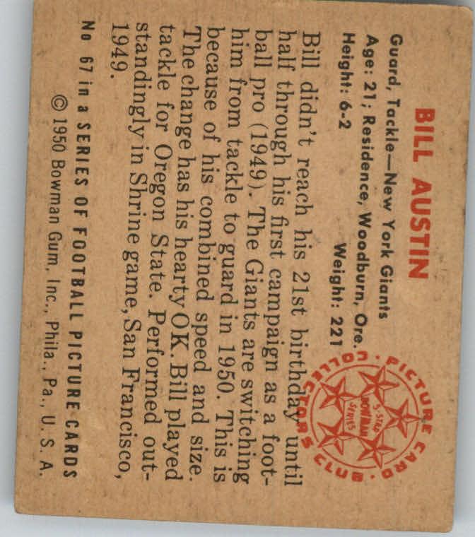 1950 Bowman #67 Bill Austin RC back image