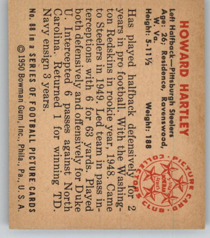 1950 Bowman #88 Howard Hartley RC back image