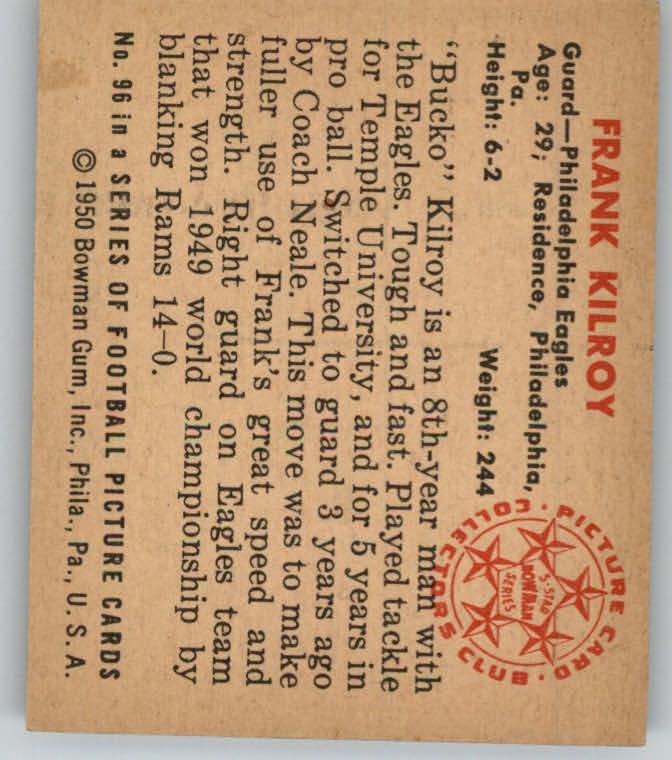 1950 Bowman #96 Bucko Kilroy back image