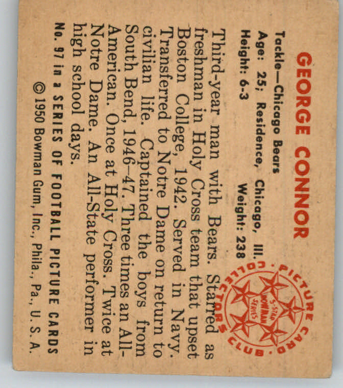 1950 Bowman #97 George Connor back image