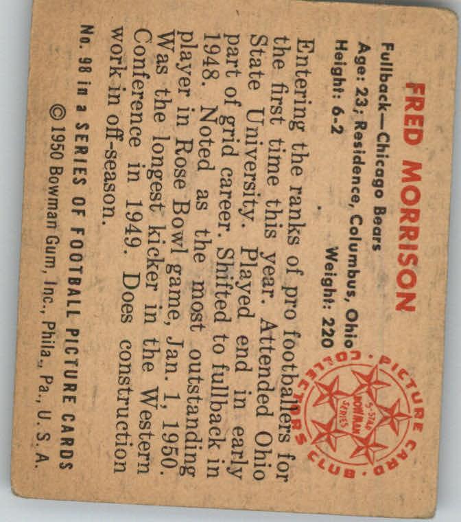 1950 Bowman #98 Fred Morrison RC back image