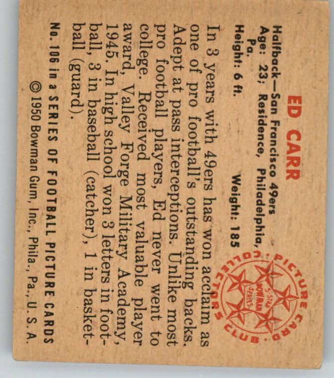 1950 Bowman #106 Ed Carr RC back image